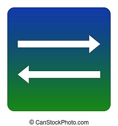 Arrow simple sign. Vector. White icon at green-blue gradient square with rounded corners on white background. Isolated.