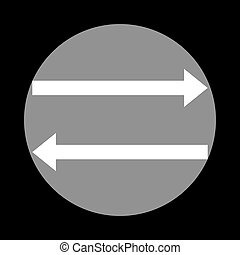 Arrow simple sign. White icon in gray circle at black background