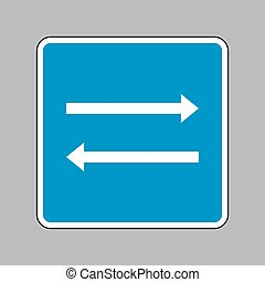 Arrow simple sign. White icon on blue sign as background.