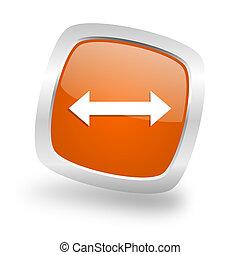 arrow square orange glossy chrome silver metallic web icon