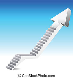 illustration of stair in shape of upward arrow on abstract background