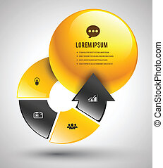 arrow step with circle - Vector business concepts with icons...