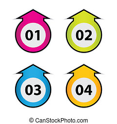 arrow stickers with numbers - vector illustration