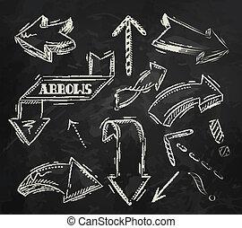 Arrow stylized drawing in chalk on the blackboard