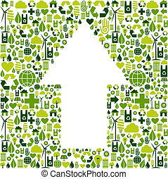 Arrow symbol in environment care icons - Green icons...