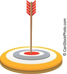 Arrow target icon, cartoon style
