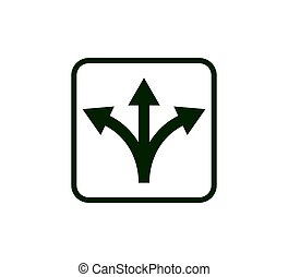 Vector illustration, flat design Arrow, three way, direction icon