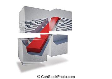 Arrow through maze on abstract screen