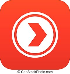 Arrow to right in circle icon digital red