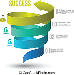 Arrow twist up to success number options with icons. Vector illustration and can use for business concept, report, data presentation, plan or education diagram. printing and website template.