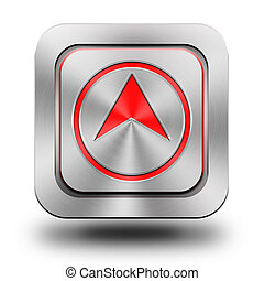 Arrow up aluminum glossy icon, button, sign