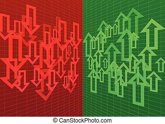 Arrow Up and Down Abstract Background Red Green