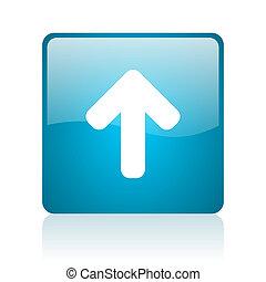 arrow up blue square web glossy icon
