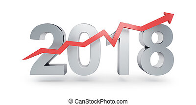 Arrow up for 2018 on a white background 3D illustration, 3D...