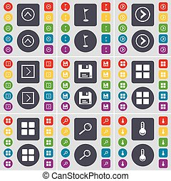 Arrow up, Golf hole, Arrow right, Floppy, Apps, Magnifying glass, Thermometer icon symbol. A large set of flat, colored buttons for your design. Vector