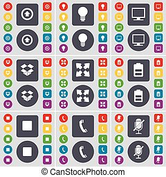 Arrow up, Light bulb, Monitor, Dropbox, Full screen, Battery, Media stop, Receiver, Microphone icon symbol. A large set of flat, colored buttons for your design. Vector