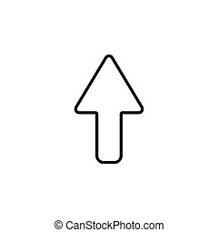 arrow up line icon isolated black on white background