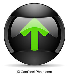 arrow up round black web icon on white background