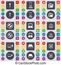 Arrow up, Smartphone, Radio, Stop, Laptop, Scales, Laptop, Hard drive, Stop icon symbol. A large set of flat, colored buttons for your design. Vector