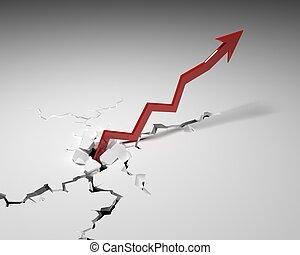 Arrow upwards. Graph of increasing revenue.