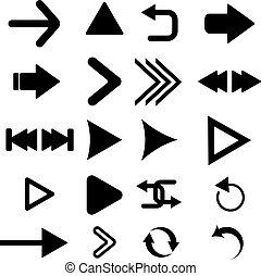 Arrow vector button icon set black color on white background.