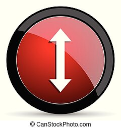 Arrow vector icon. Modern design red and black glossy web and mobile applications button in eps 10
