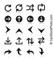 Arrow vector icon sets isolated - Types of arrows - upload,...