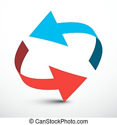 Red and Blue Arrows in Circle Set.