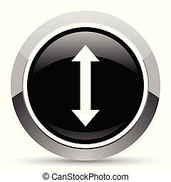 Arrow vector steel icon. Chrome border round web button....