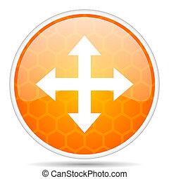 Arrow web icon. Round orange glossy internet button for webdesign.