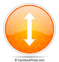 Arrow web icon. Round orange glossy internet button for webdesign.