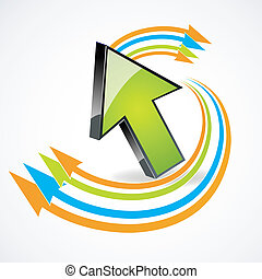 arrow with colorful curves