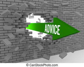 Arrow with word Advice