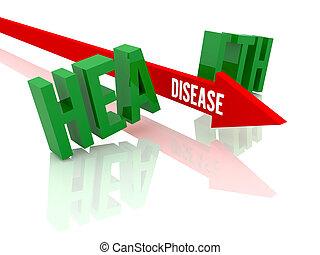 Arrow with word Disease breaks word Health. Concept 3D illustration.