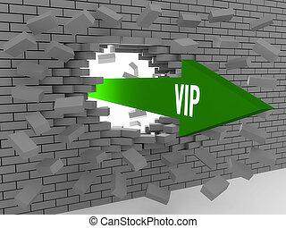 Arrow with word Vip