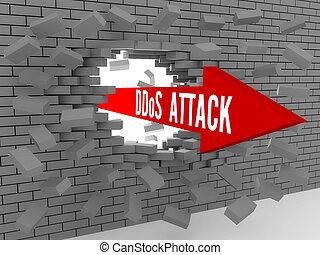 Arrow with words DDos Attack