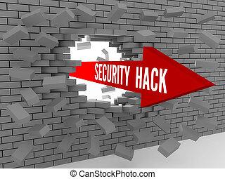 Arrow with words Security Hack