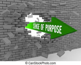Arrow with words Sense of Purpose - Arrow with words Sense...