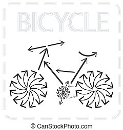 Bicycle from arrows. Abstract illustration.