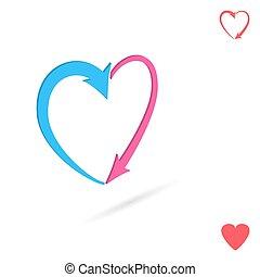 Arrowed heart, love concept