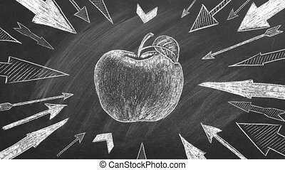 Many different arrows and apple as a target in the center drawn in chalk on a blackboard. Concept of competition, strategy, accuracy.