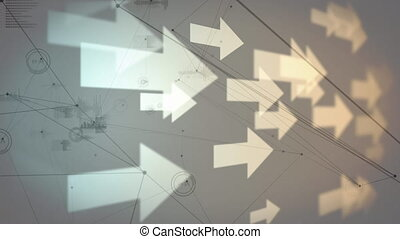 Digitally generated animation of arrows moving across the screen while black asymmetrical lines, and graphs moves in the background.