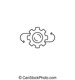 Arrows and gears vector icon symbol isolated on white background