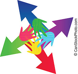 Arrows and painted hands logo vector eps10