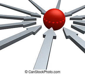 middle - arrows and red ball in the middle - 3d illustration