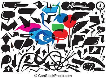 arrows and speech bubbles doodles