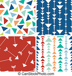 Arrows and triangles seamless pattern background - Vector...
