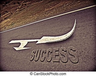 Arrows are marked on a highway to show direction, Success Concept