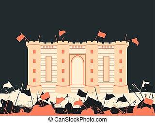 arrows., bataille, vecteur, épées, fortress., drapeaux, ...