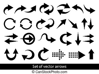 Arrows big black set icons.  Arrow vector collection.  Cursor. Modern simple arrows. Vector illustration
